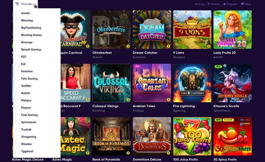 Tutti i giochi disponibili su Bao Casino