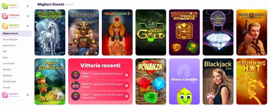 Tutti i giochi disponibili su Nomini Casino