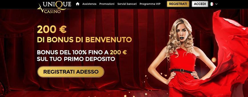 Unique Casino bonus di benvenuto