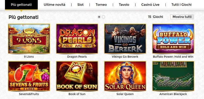 Tutti i giochi disponibili su Unique Casino