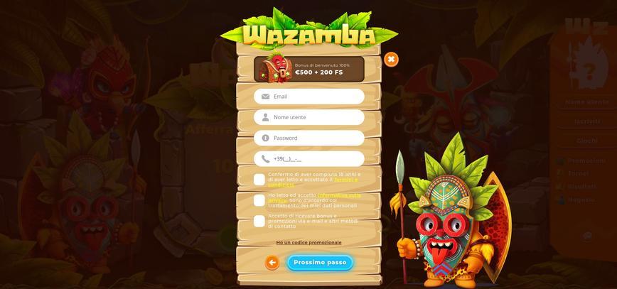 Come registrarsi su Wazamba?