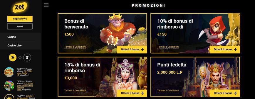 Zet Casino bonus di benvenuto
