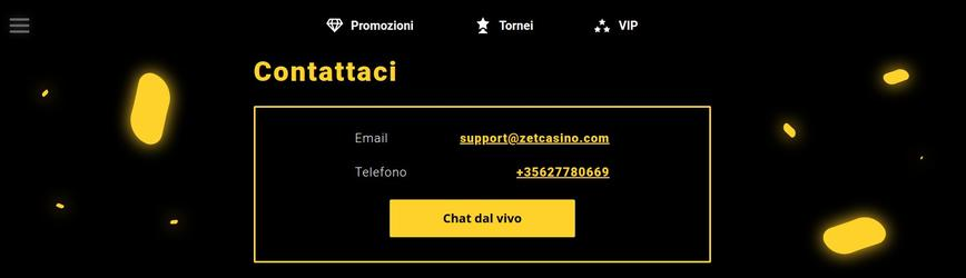 Ottenere supporto dal team di assistenza di Zet Casino