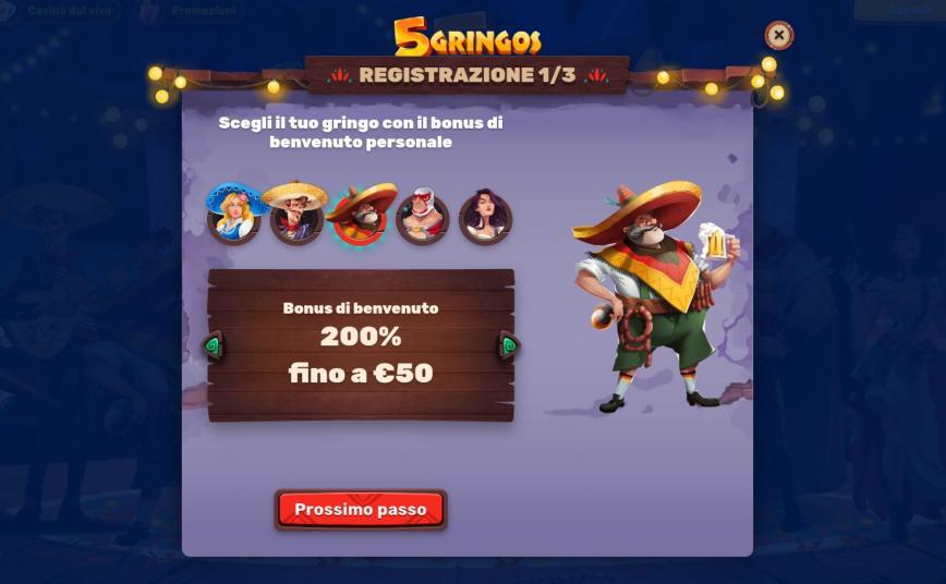Come ci si registra a 5 Gringos Casino?