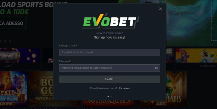 Come ci si registra ad Evobet?